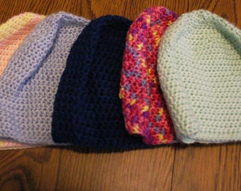 Baby winter beanie-style crocheted hats, 3-6 months