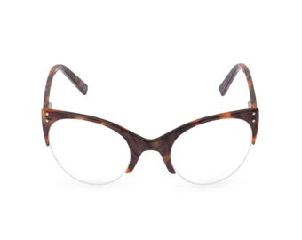 1950s style classic upswept cat eye ELLA Earth [caramel brown]  Reading strength, or glaze to your optical prescription or sunglasses