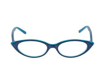 1950s 1960s style almond shaped Cat Eye for smaller faces Readers or Rx able frames NEW made to original vintage 'KATY' Royal Blue
