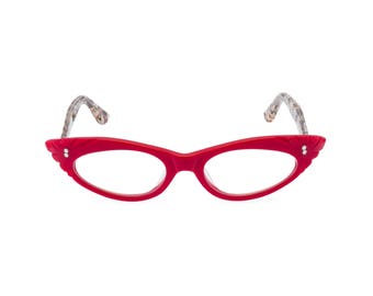 1950s rockabilly cat eye glasses 'GINA' Vixen Red Handmade with love! Reading strength or reglaze to your optical prescription