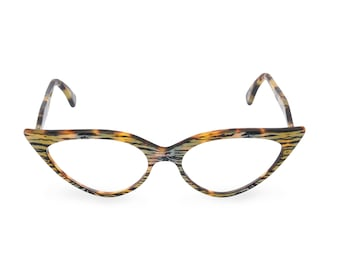 Outrageous Drama! Sexy almond shape Cat Eye Glasses Handmade 'JEANNE' Tiger/Tortoiseshell Vintage style spectacle frame ready for your Rx