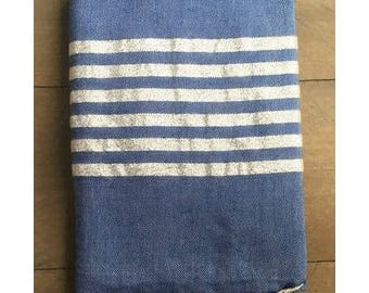 Fouta Towel with Silver Stripes