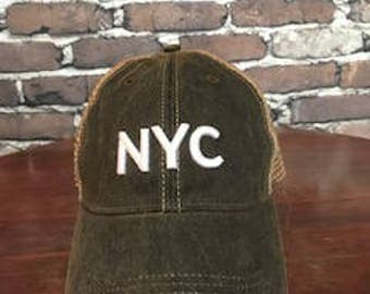 NYC New York Trucker Hat Decayed Black, White 3D Puff Embroidery