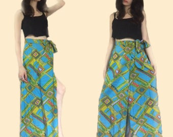 Mosaic Neon Hippie Cotton Maxi Wrap Skirt 60s