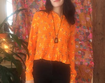 Tangerine Cherry 70s Pullover Ruched Cotton Top Size Small / Medium