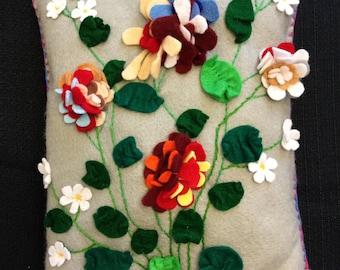 Handmade Felt Decorative Pillow Multi-Color Flower Motif