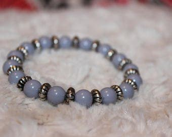 Lavender Beaded Bracelet with Silver spacers