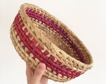 Vintage Pink & Natural Woven Basket - Wall Feature - Bohemian Boho Jungalow Eclectic Style Decor Home - asia woven art - baby nursery #0773