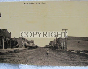 Ault Colorado Lithograph Photo Photograph Postcard Buildings Main Street Free Shipping