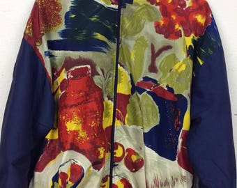 Vintage 90s Argee Sports Abstract Design Retro Windbreaker Bomber Jacket Size L