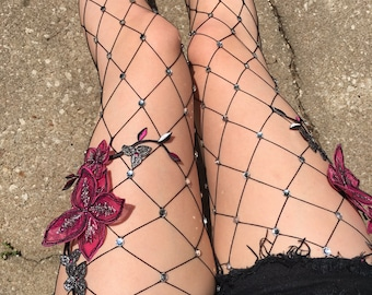 Pink and Silver Flower Wide Diamond Fishnet Tights