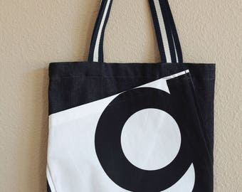 Denim tote with pocket