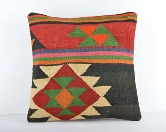 16x16 Decorative Handmade Kilim Pillow Cover, Turkish Boho Pillow, Throw Pillow, Kilim Pillow Case, Vintage Pillow