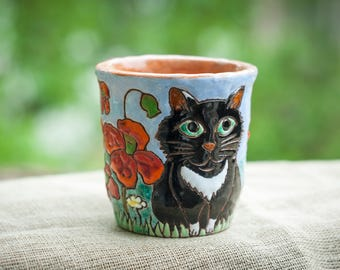 Black Cat Mug Ceramic mug Happy cat mug Cute mug Animal Mug Cat coffee cup Cat coffee mug Flower Poppys Funny cat