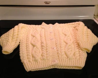 Hand Knit Arran Cardigan, for babies, toddlers and preschoolers.