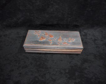 """Jewelry box made of pine wood with ancient technique finish / Piece of unique """""""""""