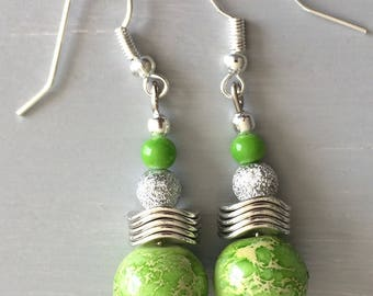 Green glass and metal Stud Earrings