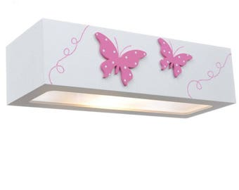 Sconce With 3D Hand Painted Pink Butterflies  p41 by Pillo Lighting