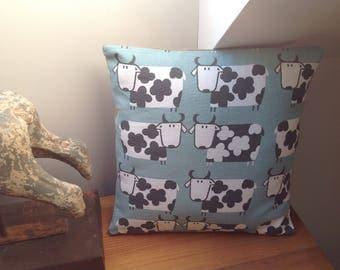 "16"" cow fabric and hessian cushion"