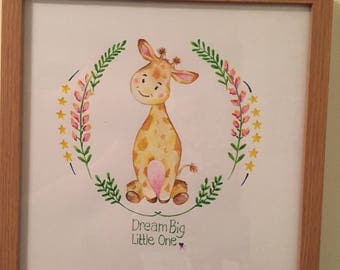 Original giraffe watercolour - Dream big little one - Childrens bedroom - christening present