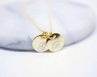 Duo necklace ~ initials ~ gold plated