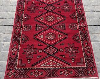 Vintage Rug, Red, Black and white fringe | Bohemian Rug | Boho Decor | Area Rug