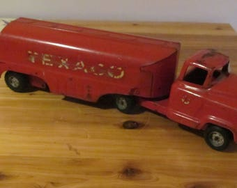 Vintage Texaco 1950's or 60's Pressed metal Truck and Trailer