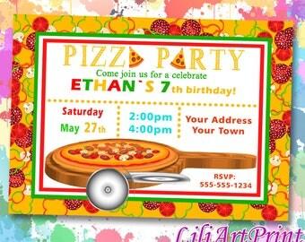 Pizza Party birthday invitation, pizza invite, pizza party birthday party, Digital file(13)