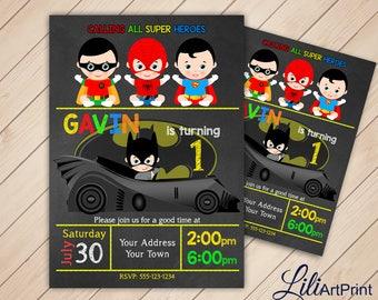 First Birthday, Superhero Invitation, Superhero Birthday Invitation, Superhero Invite, Superhero Birthday Invite, Digital file (20)