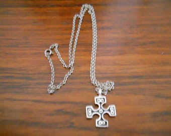 Celtic style silver cross and chain