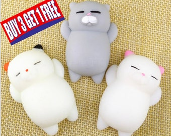 Cute Mochi Squishy Cat Squeeze Healing Fun Kids Kawaii Toys Soft Lovely Cat Squishy Healing Squeeze Fun Kid Toy Gift Stress Reliever Decor