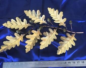 """19"""" Solid Brass Oak Leaf & Acorn Sculpture (7X7 Scrambled Eggs)"""