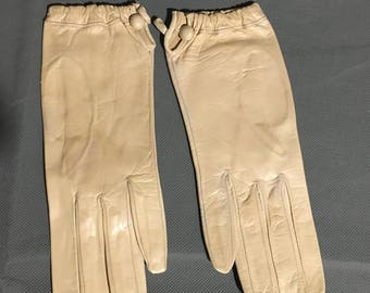 Vintage Cream Italian Soft Leather Gloves Size 7