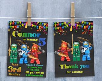 Lego Ninjago Invitation, Lego Ninjago Invitations, Lego Ninjago Birthday Party Invitation with Free Thank You Card, Personalized JPEG
