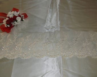 Ivory Pearl Beaded Wide Lace