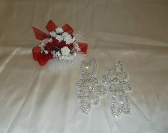 Silver/Rhinestone Sew On Flower Pieces