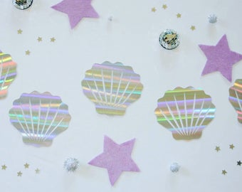 Holographic Seashell Banner | Mermaid Party Decor, Under the Sea Banner, Iridescent Party Decor, Mermaid Birthday, Iridescent Mermaid Party
