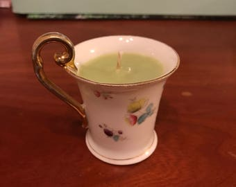 Small Green Apple Teacup Candle in Avocado