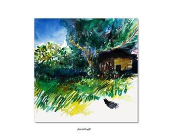 Blackbird with hedgehog house print