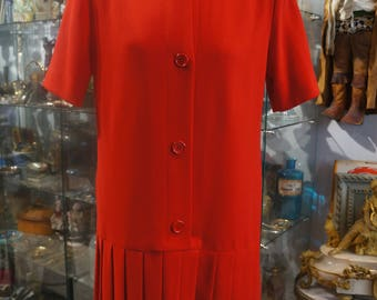 Red pleated vintage GIVENCHY T42/44