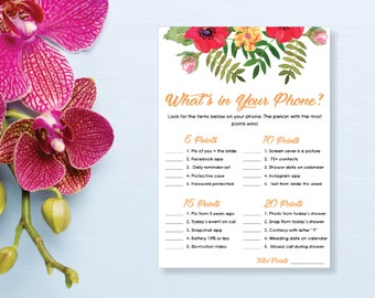 What's in Your Phone? Bridal Shower Game. Instant Download. Printable Bridal Shower Game. Yellow Flowers. Red and Orange. - 02