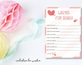 Wishes for Baby. Baby Shower Game. Instant Download. Printable Baby Shower Baby Girl Game. Pink