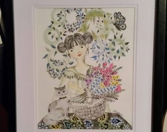 Framed Drawing by Carol Barbeau - Asian Floral