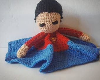 handmade crochet lovey / security blanket dc comics superman inpisred yarn doll