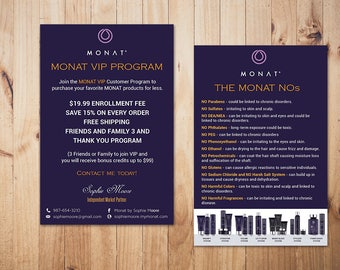 PERSONALIZED Monat NOs Cards, Monat VIP Program, Custom Monat Hair Care Card, Fast Free Personalization, Monat Business Cards MN18