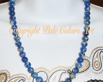 "20"" Blue Jasper Stone Bead Necklace, Blue Necklace, Sea Sediment Jasper Necklace, Blue Stone Necklace, 20 Inch Necklace, Brides Maid Gift"