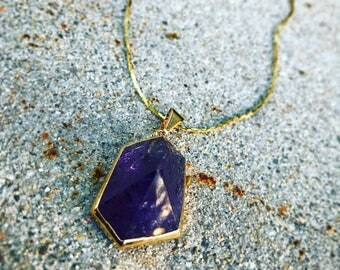 Handmade Gold Dipped Amethyst Pendant Necklace