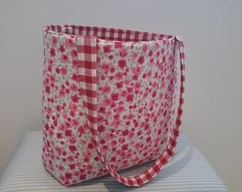 Pink Floral and Stripe Print Bucket Bag