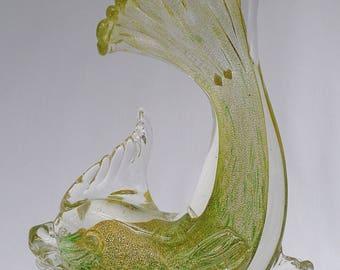 Murano Glass Fish with Gold Aventurine Sculpture