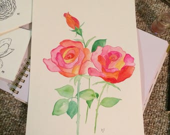 Watercolor Roses 9x12 hand-painted